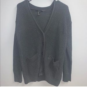 Forever 21 button-down cardigan in charcoal grey